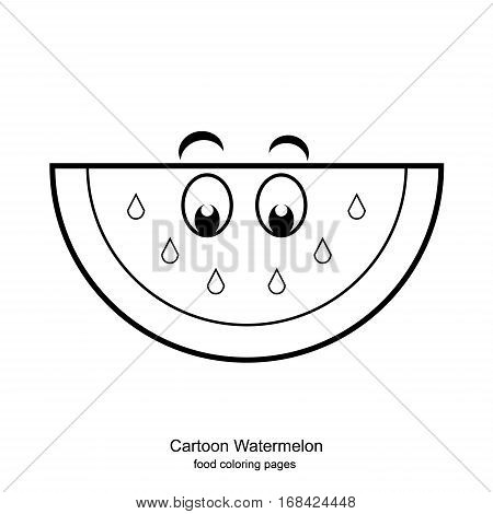 Cartoon Watermelon - food coloring pages vector