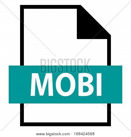 Use it in all your designs. Filename extension icon MOBI Mobipocket eBook file in flat style. Quick and easy recolorable shape. Vector illustration a graphic element.