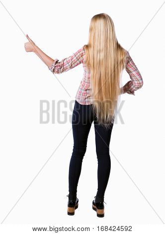 Back view of  woman thumbs up. Rear view people collection. backside view of person. Isolated over white background. Long-haired girl shows thumbs up.