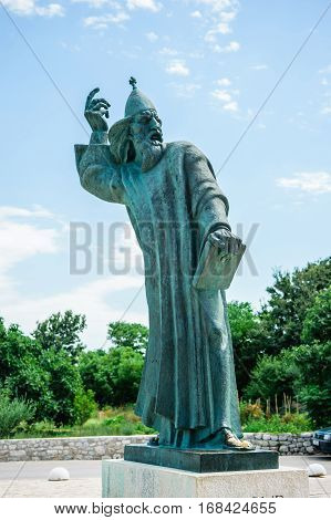 Nin, Croatia - July 30, 2015: Monumental Bronze Statue Of Bishop Gregory In Town Nin In Croatia