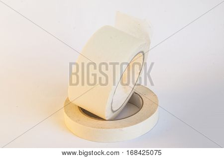 White Isolated Tape With White Background With Shadow