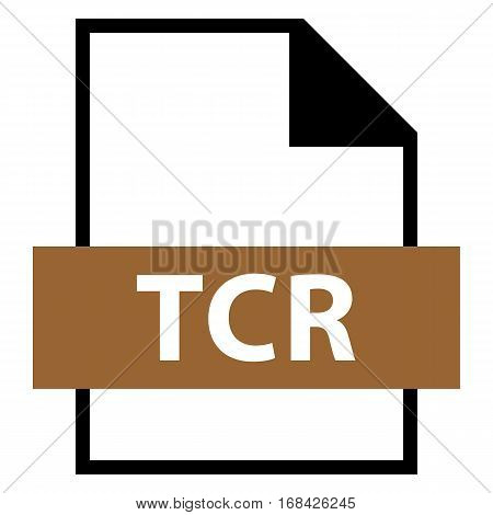 Use it in all your designs. Filename extension icon TCR e-book file format in flat style. Quick and easy recolorable shape. Vector illustration a graphic element.