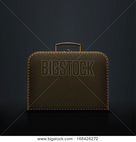 illustration of leather black color briefcasse with shadow on dark background