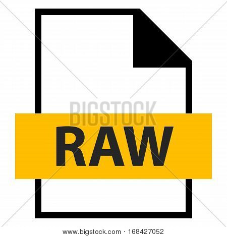 Use it in all your designs. Filename extension icon RAW camera raw image file in flat style. Quick and easy recolorable shape. Vector illustration a graphic element.