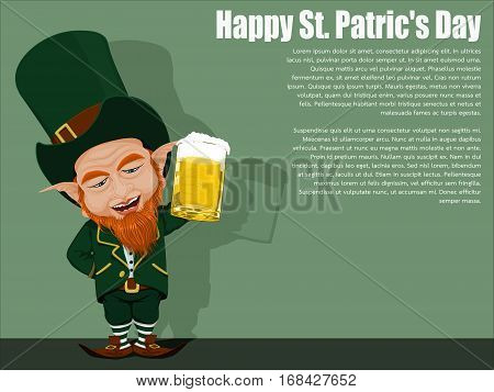 Isolated Leprechaun on Viridian background for St. Patrick's day celebration