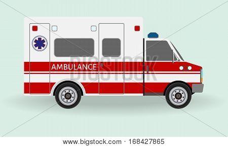 Ambulance car. Emergency medical service vehicle. Hospital transport. Flat style vector illustration.