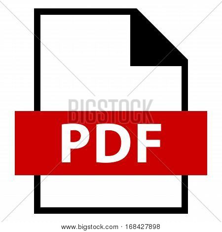 Use it in all your designs. Filename extension icon PDF Portable Document Format in flat style. Quick and easy recolorable shape. Vector illustration a graphic element.