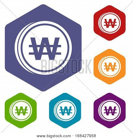 Coins won icons set rhombus in different colors isolated on white background