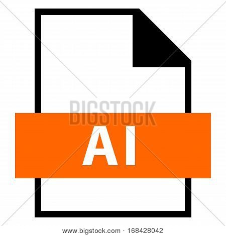 Use it in all your designs. Filename extension icon AI Adobe Illustrator File in flat style. Quick and easy recolorable shape. Vector illustration a graphic element.