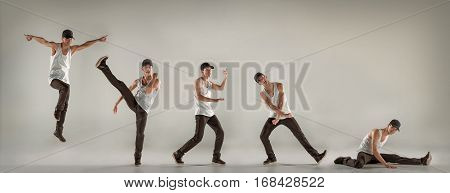 The man dancing fitness or hip hop choreography in gray studio background. Collage