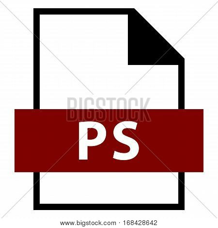 Use it in all your designs. Filename extension icon PS PostScript in flat style. Quick and easy recolorable shape. Vector illustration a graphic element.