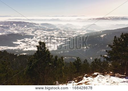 Winter mountain landscape in sunset, Divcibare, Serbia