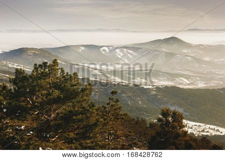 Nature winter landscape, view from Divcibare, Maljen mountain, Serbia