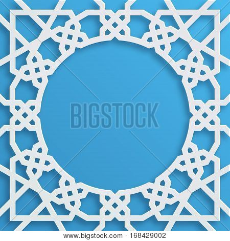 Vector muslim mosaic persian motif. Mosque decoration element. Islamic geometric pattern. Elegant white oriental ornament traditional arabic art. 3D illustration for brochures greeting card