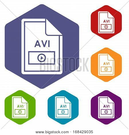 File AVI icons set rhombus in different colors isolated on white background