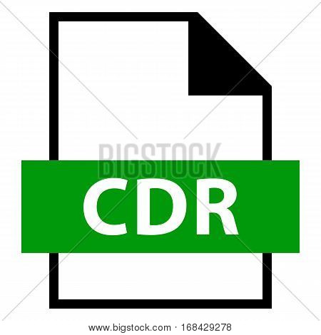 Use it in all your designs. Filename extension icon CDR CorelDRAW file format in flat style. Quick and easy recolorable shape. Vector illustration a graphic element.