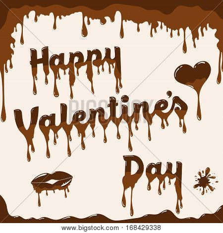 Valentine's day card vector template. Illustration with melted chocolate text heart and lips. Light brown background.