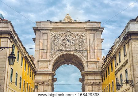 Rua Augusta triumphal arch at Commerce Square Lisbon Portugal