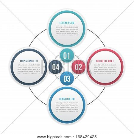 Circle diagram with four elements or steps, cycle process diagram, workflow infographic template, vector eps10 illustration