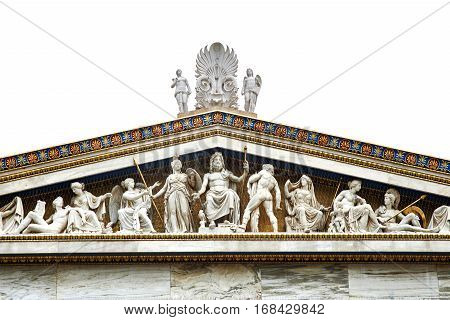 Statues of ancient twelve gods on academy building in Athens