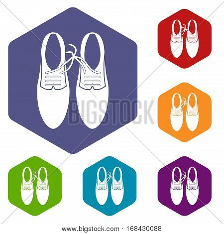 Tied laces on shoes joke icons set rhombus in different colors isolated on white background