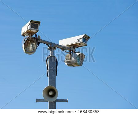 Security camera with infra-red lights and loudspeaker