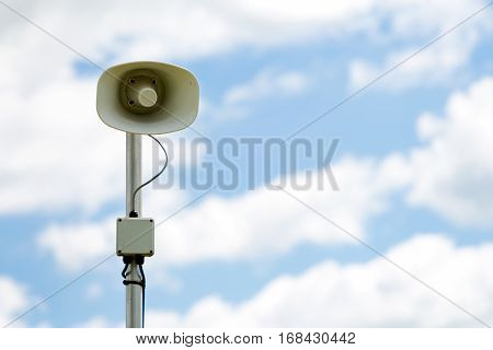 Public address tannoy speaker on a pole