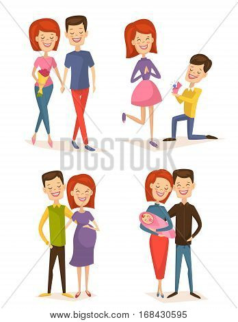 Happy young family couple set isolated vector illustration. Smiling boyfriend and girlfriend being happy, betrothed, marry, become pregnant and have baby. Cheerful young people, lovely family born. Cartoon young couple. Family chraracter.