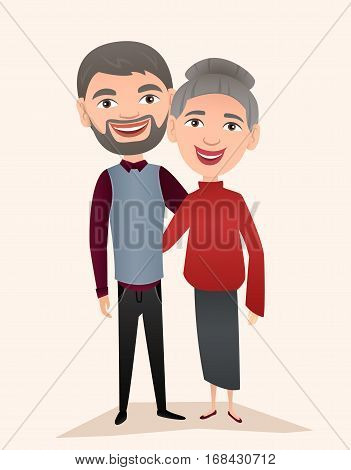 Happy middle aged couple isolated vector illustration. Smiling grandfather and grandmother cartoon characters. Happy old people portrait, cheerful elderly family standing together, senior couple.
