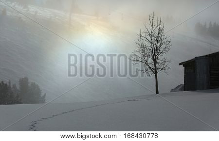 Winter fog with old wooden building