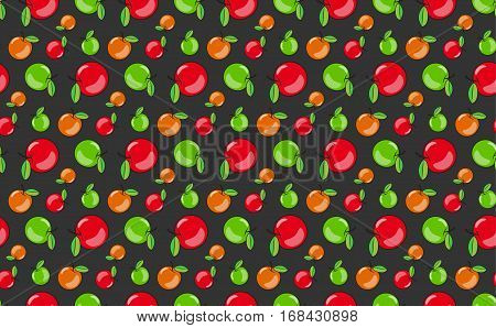 Vector Pattern Of Apples In A Flat Style.