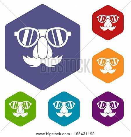 Clown face icons set rhombus in different colors isolated on white background