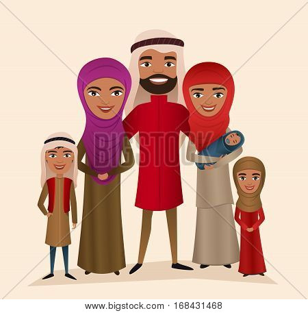 Happy arab family with children isolated vector illustration. Husband, wife, daughter, son and baby in national dress. Smiling young people portrait, big happy family with kids standing together. Arab family characters. Cartoon family of arab people.