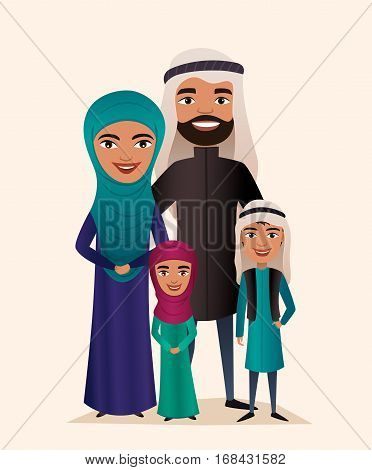 Happy arab family couple with children isolated vector illustration. Arab husband, wife, daughter and son in national dress. Smiling young people portrait, big happy family with kids together. Arab family characters. Cartoon family of arab people.
