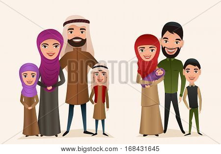 Happy arab family with children set isolated vector illustration. Husband, wife, daughter, son and baby in national dress. Smiling young people portrait, big happy family with kids standing together. Arab family characters. Cartoon family of arab people.