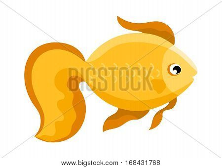 Golden coral reef tropical fish vector illustration. Vector sea fish isolated on white background. Aquarium golden fish icon. Tropical golden fish logo or fish sign. Cartoon fish characters. Funny fish. Vector golden fish isolated