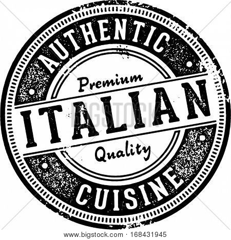 Authentic Italian Cuisine Restaurant Stamp