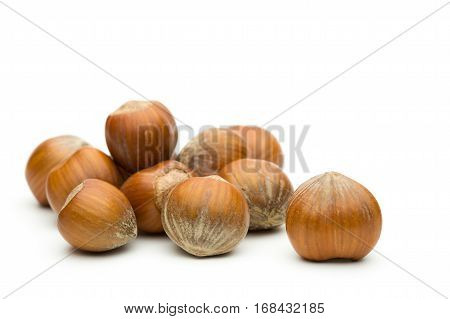 Pile of hazelnuts on a white background