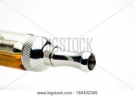 Close up image of e-cigarette  mouthpiece on a white background