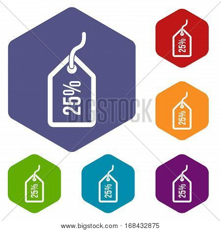 Tag with 25 discount icons set rhombus in different colors isolated on white background