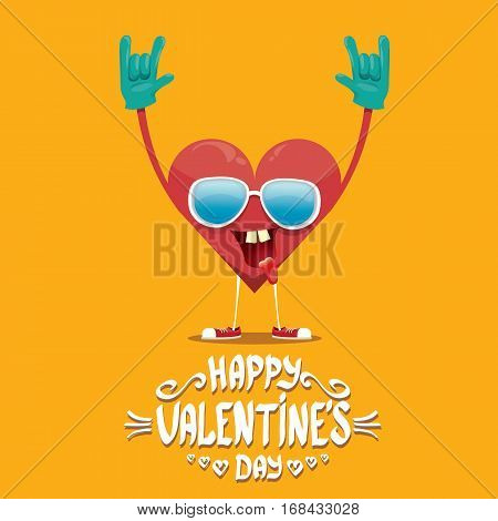 vector graphic creative happy valentines day card with cartoon heart character and and calligraphic text . rock n roll valentines day party concept poster design template
