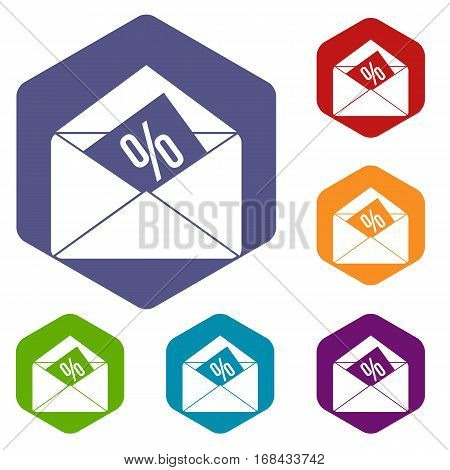 Envelope with percentage icons set rhombus in different colors isolated on white background