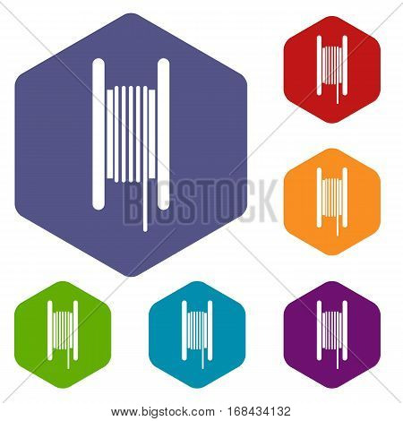 Electric cable in coil icons set rhombus in different colors isolated on white background