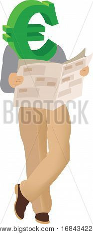 half-length human body Euros reading newspaper half-length human body Euros reading newspaper