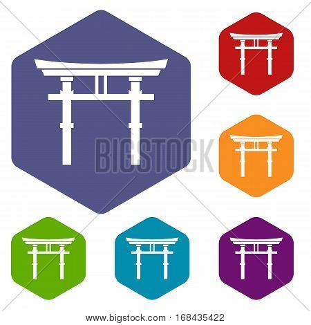 Japanese torii icons set rhombus in different colors isolated on white background