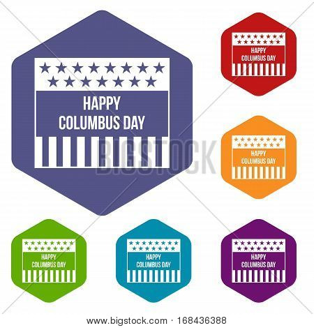 Happy Columbus day icons set rhombus in different colors isolated on white background