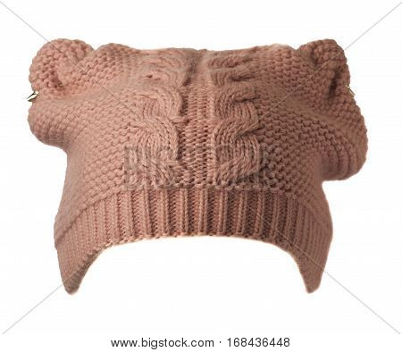 Women's Hat . Knitted Hat Isolated On White Background.pink Hat.
