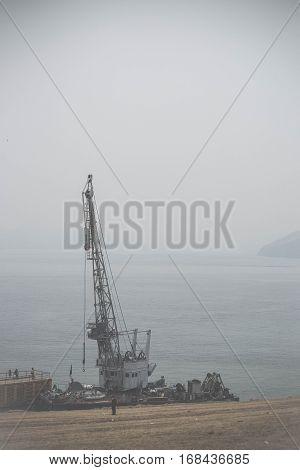 View On Lake Baikal Under The Fog