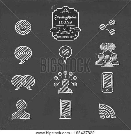 Social Media Hand Drawn Doodle Internet Icon Set