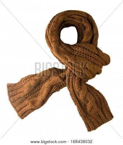 Scarf Isolated On White Background.scarf  Top View . Brown Scarf .